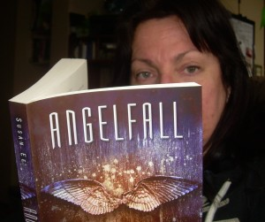 Me reading my 2015 First Book of The Year - Angelfall by Susan Ee