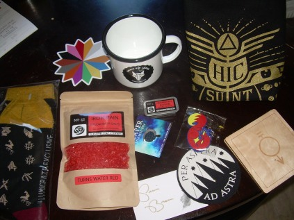 socks,bath salts,metal mug, lip balm, key chain, reaper pin, tote bag, coasters, colour wheel sticker, autograph sticker, etc..
