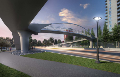 conceptual drawing of the new pedestrian bridge over Bow Trail connecting to Shaganappi Village and Westgate Condos