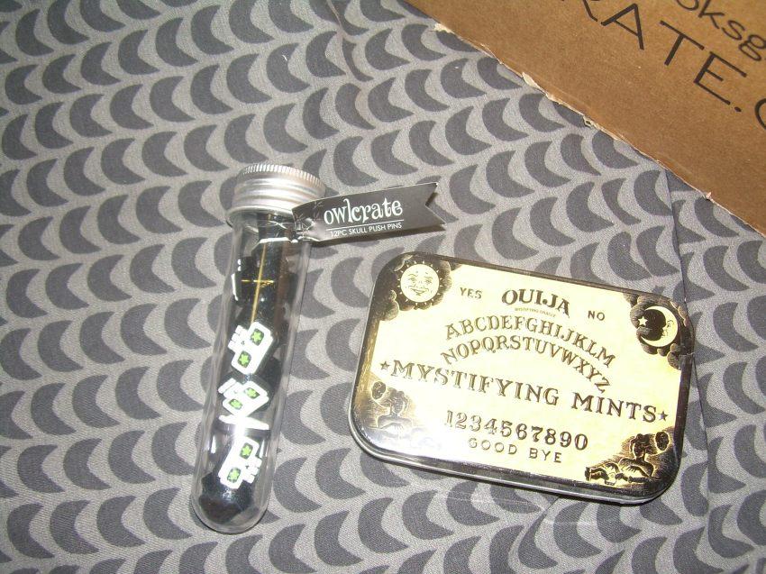 Ouija Mystifying Mints (Boston America Corp) Skull Push pins (OwlCrate Original)